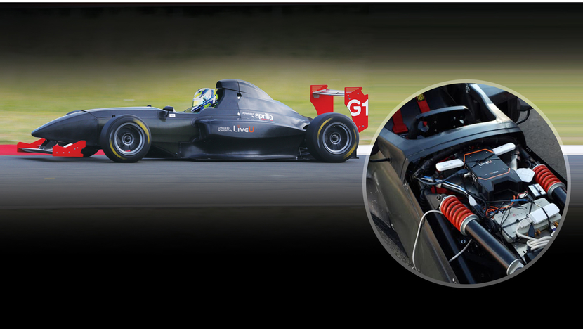 The Griiip G1 Formula race car equipped with  LiveU LU300 HEVC unit