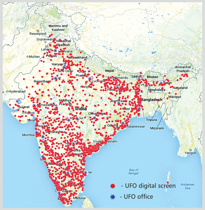 UFO Moviez's screen placement on the map of India