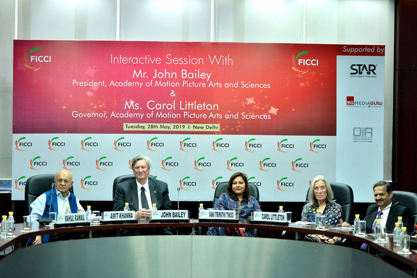 Amit Khanna, renowned lyricist and filmmaker; John Bailey, president, Academy of Motion Picture Arts and Sciences; Vani Tripathi Tikoo, member, CBFC; Carol Littleton, governor, Oscar Academy, during an interactive session with 'Stakeholders of Media and Entertainment Industry' at FICCI, in New Delhi