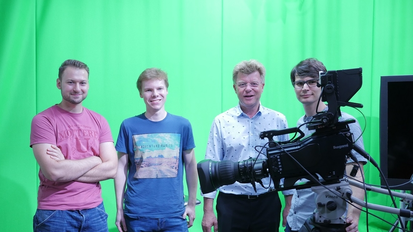 Mike Christmann (mid-right) and EVI Project team colleagues with the Ikegami UHK-430 HDR camera