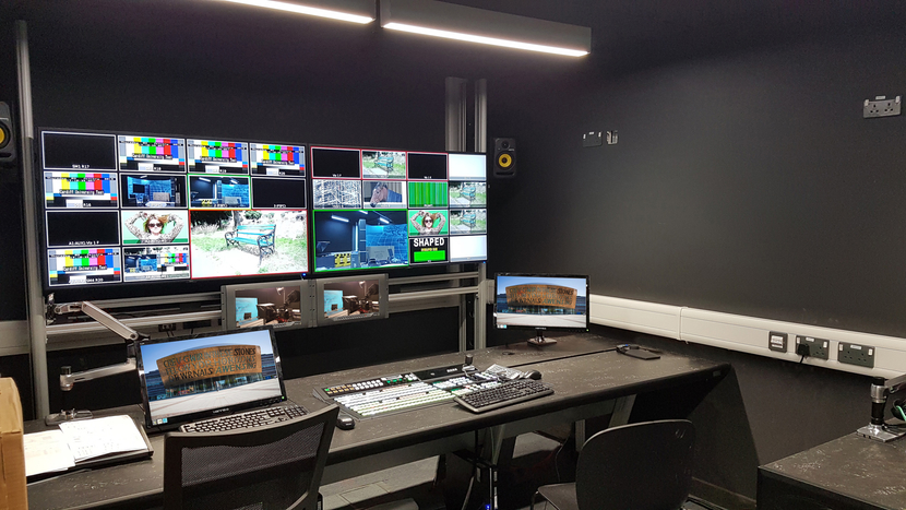 MediaWall Monitor, Cardiff University School of Journalism, Media & Cultural Studies, Custom Consoles Module-R, Custom Consoles Sales Manager Gary Fuller, MediaWall, Ergotron, Studio 1 control room