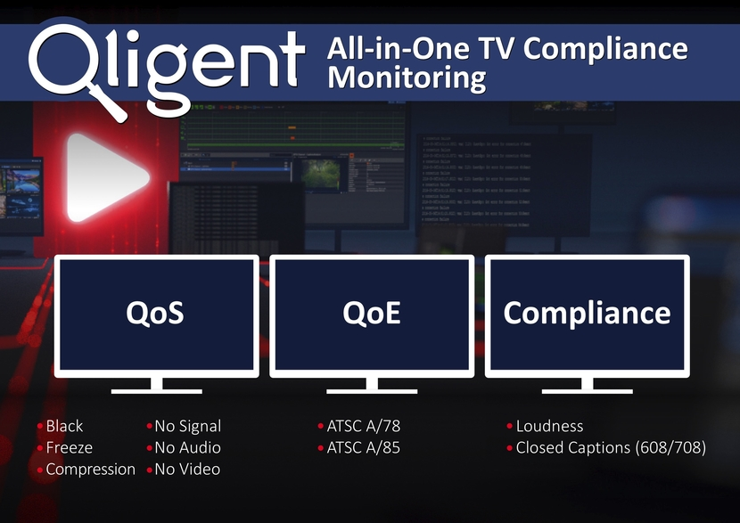 Qligent, 2020 NAB Show, QoS, QoE monitoring, Next Gen TV, Turnkey solution, TV stations, Broadcasters, All-In-One Compliance Monitoring, Allows broadcasters, Vision Compliance Monitoring System, South Upper location, Las Vegas Convention Center
