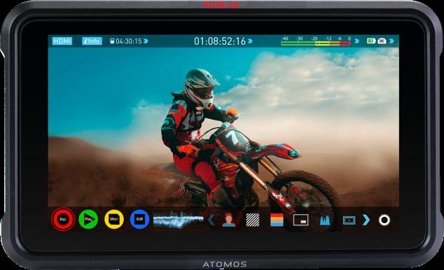 Atomos, Ninja V, False colour and de-squeeze, Social Media, Grid overlay, Legalize HDMI input, IRE Scale, Anamorphic De-squeeze