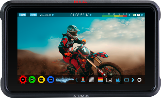 Atomos, Ninja V, False colour and de-squeeze, Social Media, Grid overlay, Legalize HDMI input, IRE Scale, Anamorphic De-squeeze